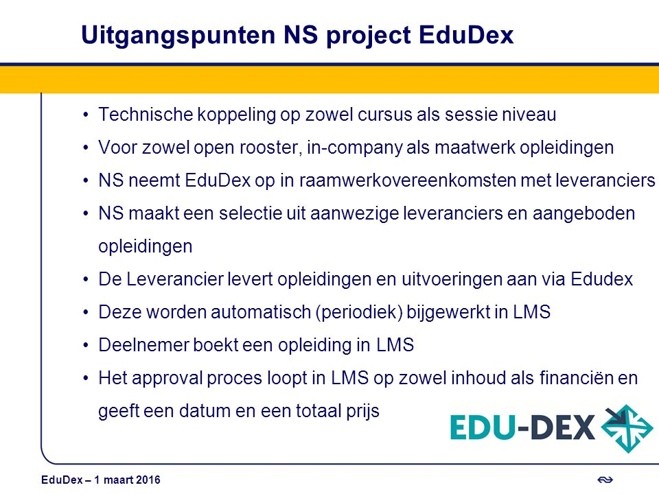 Uitgangspunten NS project EduDex