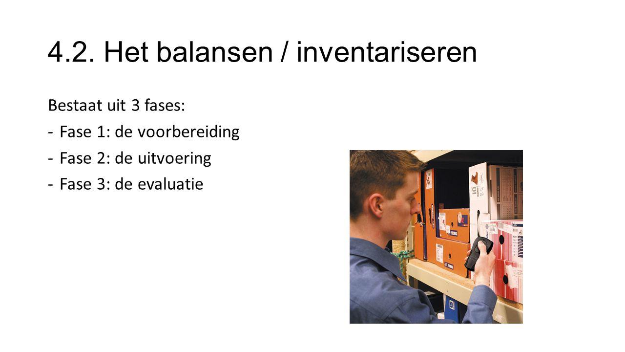 4.2. Het balansen / inventariseren