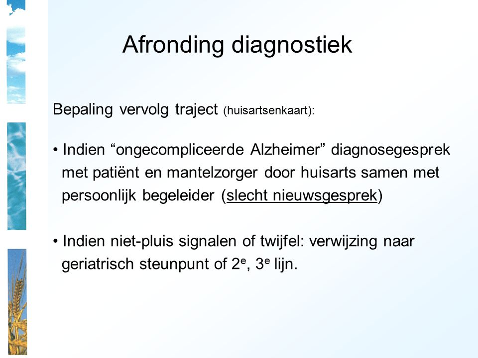 Afronding diagnostiek