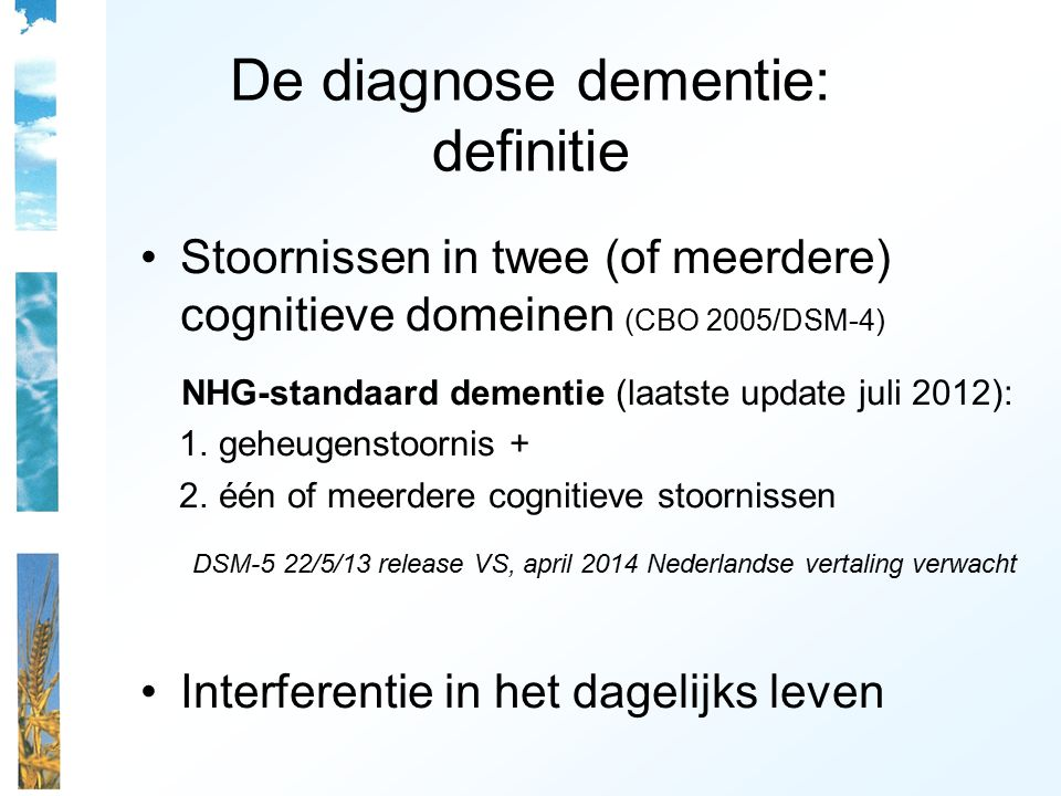 De diagnose dementie: definitie