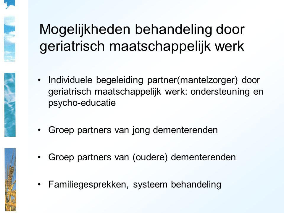 Mogelijkheden behandeling door geriatrisch maatschappelijk werk