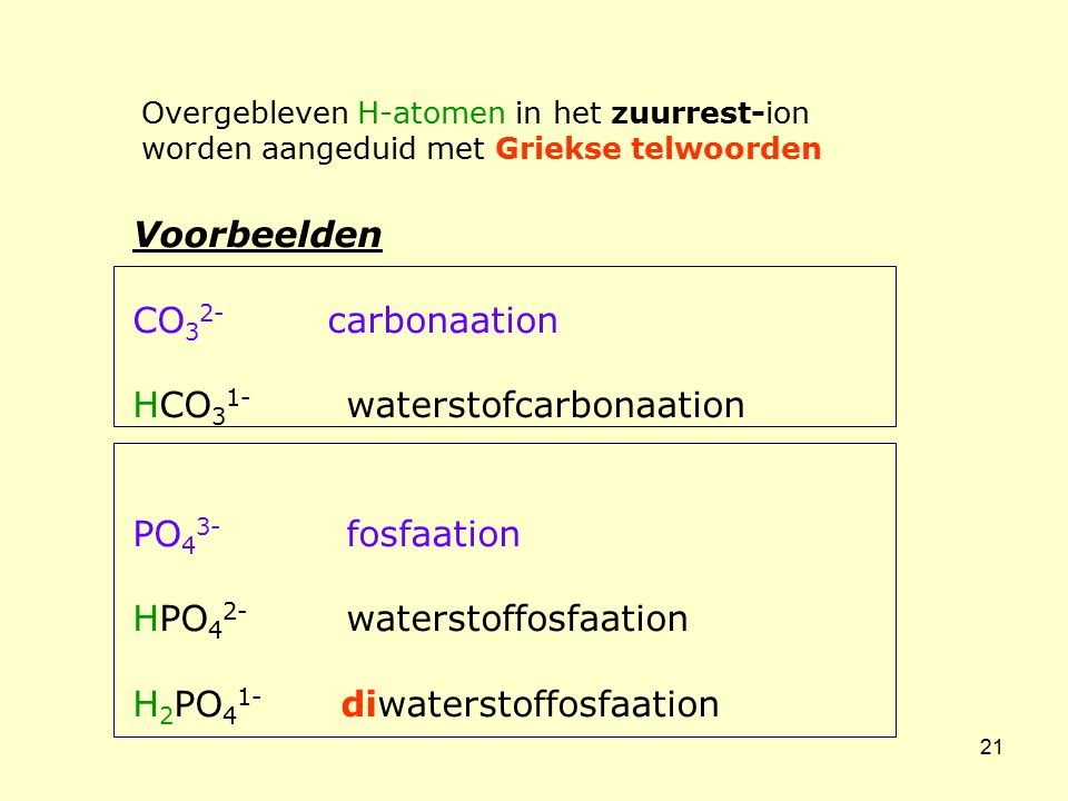 HCO31- waterstofcarbonaation