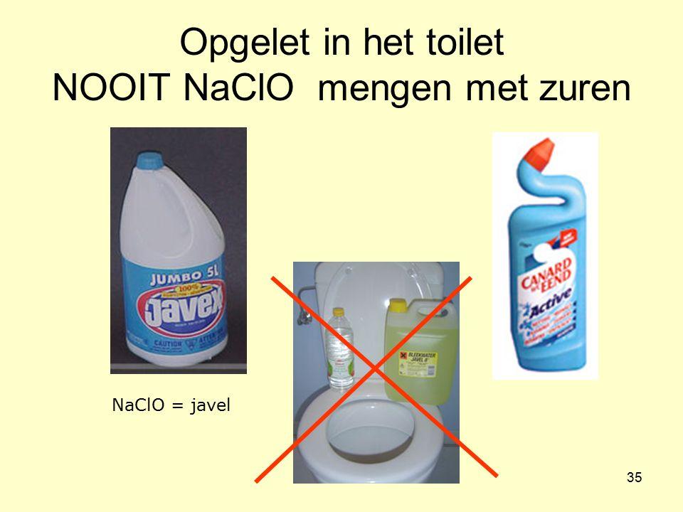 Opgelet in het toilet NOOIT NaClO mengen met zuren