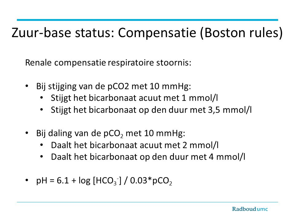Zuur-base status: Compensatie (Boston rules)