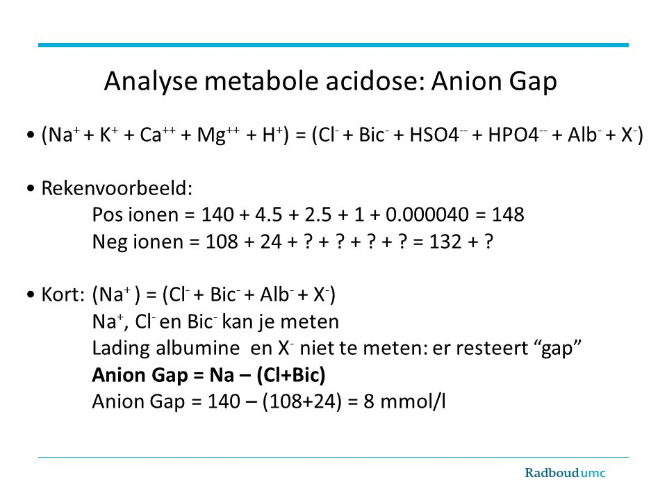 Analyse metabole acidose: Anion Gap