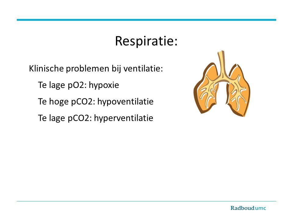 Respiratie: Klinische problemen bij ventilatie: Te lage pO2: hypoxie Te hoge pCO2: hypoventilatie Te lage pCO2: hyperventilatie