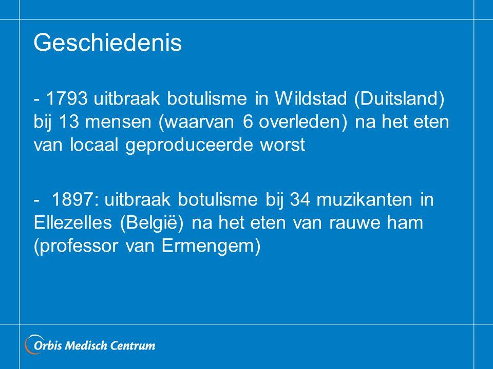 Geschiedenis 1793 uitbraak botulisme in Wildstad (Duitsland) bij 13 mensen (waarvan 6 overleden) na het eten van locaal geproduceerde worst.