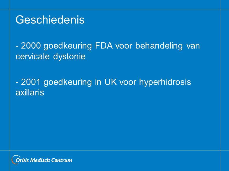 Geschiedenis 2000 goedkeuring FDA voor behandeling van cervicale dystonie.