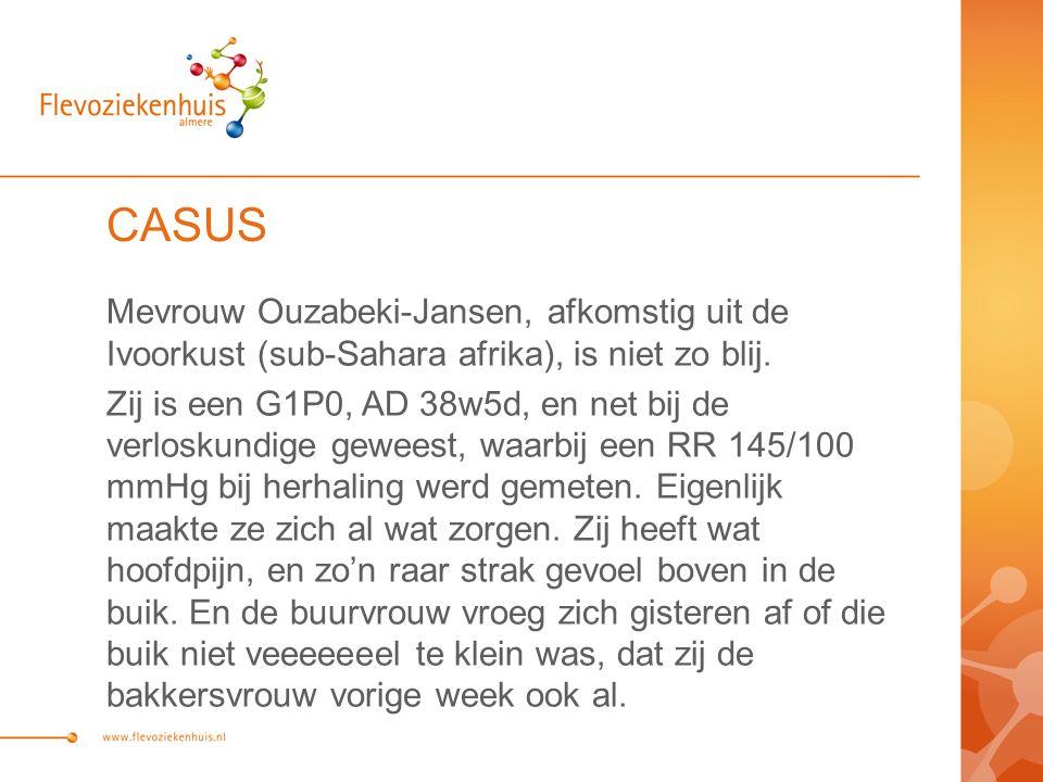 CASUS Mevrouw Ouzabeki-Jansen, afkomstig uit de Ivoorkust (sub-Sahara afrika), is niet zo blij.