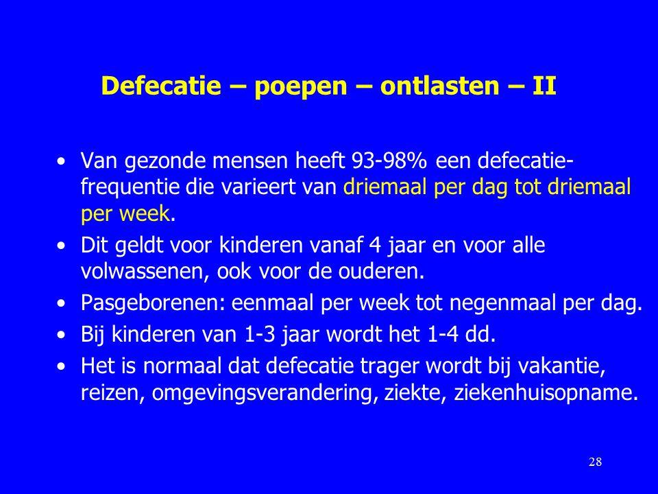 Defecatie – poepen – ontlasten – II