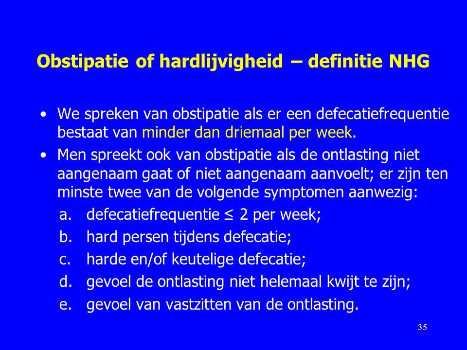Obstipatie of hardlijvigheid – definitie NHG