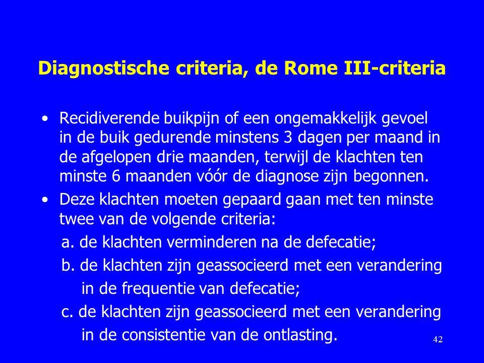 Diagnostische criteria, de Rome III-criteria