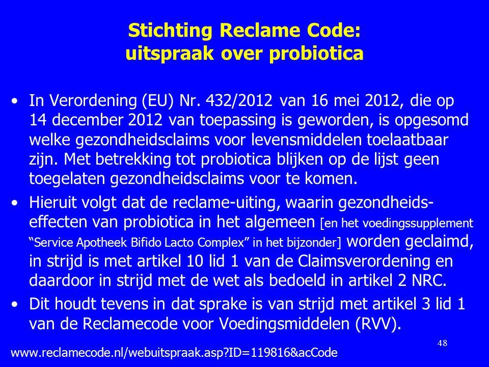 Stichting Reclame Code: uitspraak over probiotica