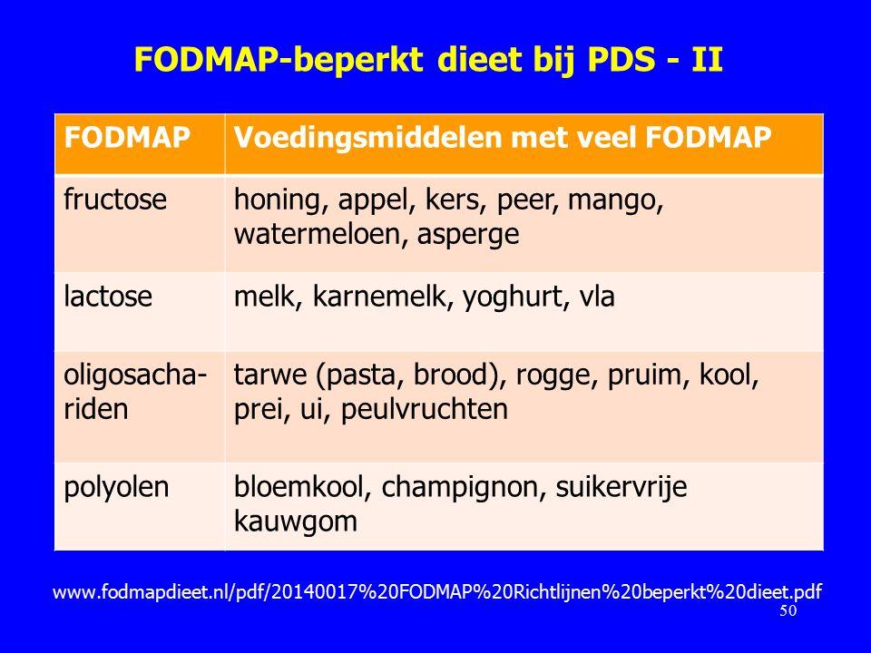 FODMAP-beperkt dieet bij PDS - II