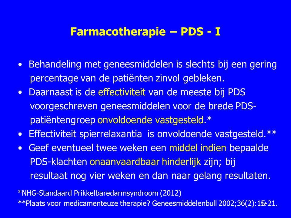 Farmacotherapie – PDS - I