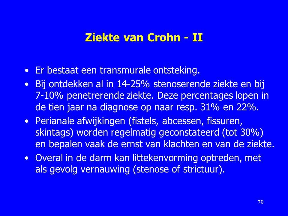 Ziekte van Crohn - II Er bestaat een transmurale ontsteking.