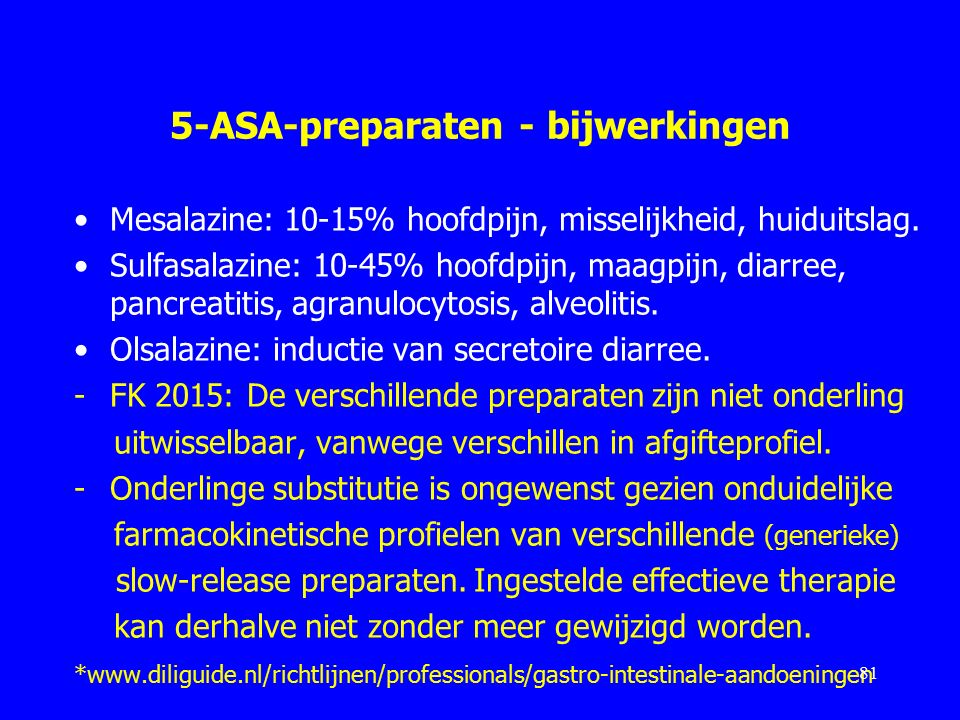 5-ASA-preparaten - bijwerkingen