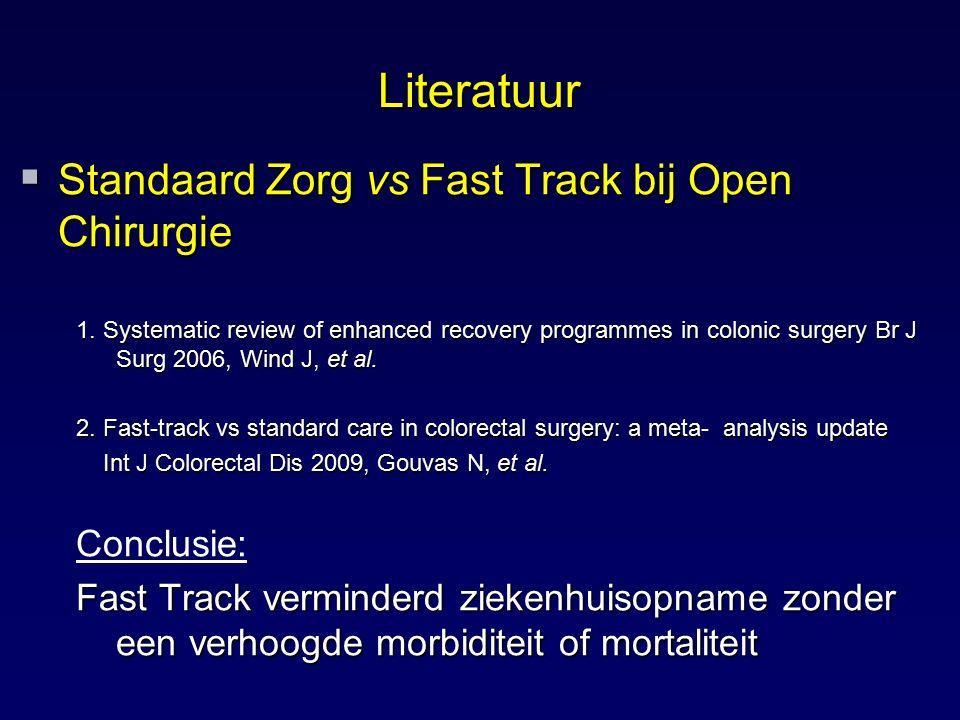 Literatuur Standaard Zorg vs Fast Track bij Open Chirurgie Conclusie: