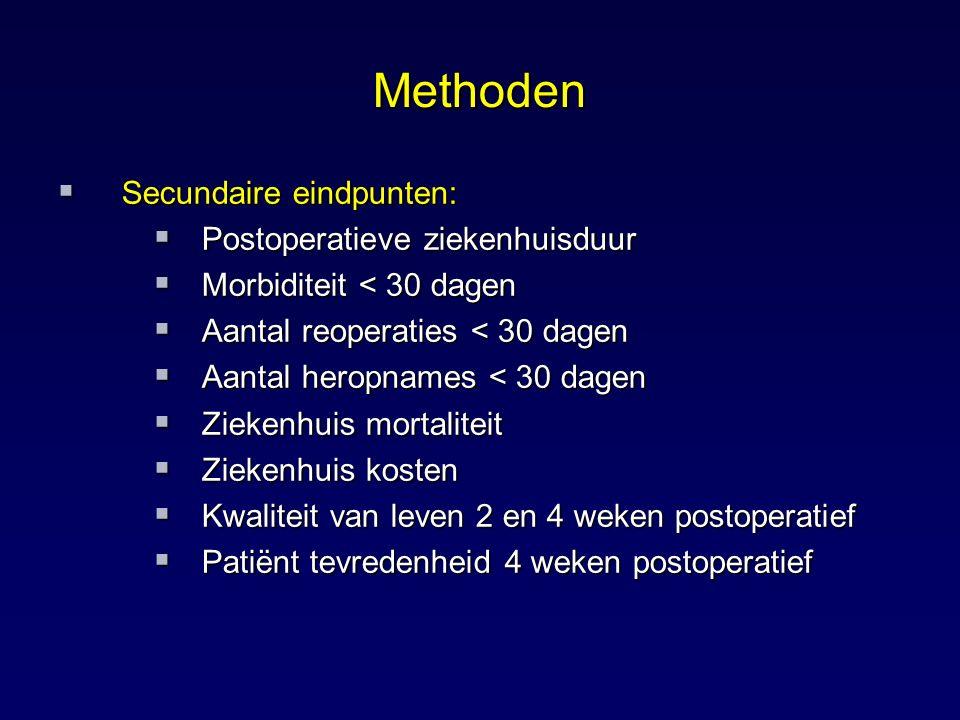 Methoden Secundaire eindpunten: Postoperatieve ziekenhuisduur