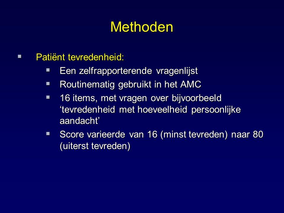 Methoden Patiënt tevredenheid: Een zelfrapporterende vragenlijst