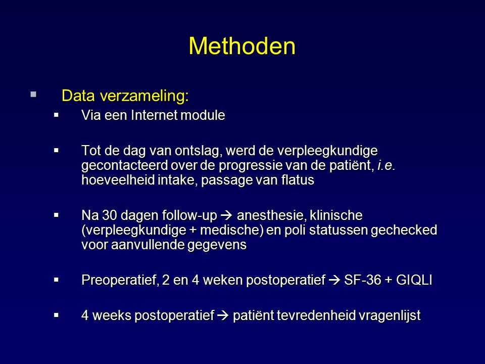 Methoden Data verzameling: Via een Internet module