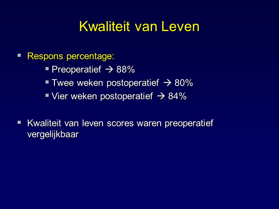 Kwaliteit van Leven Respons percentage: Preoperatief  88%