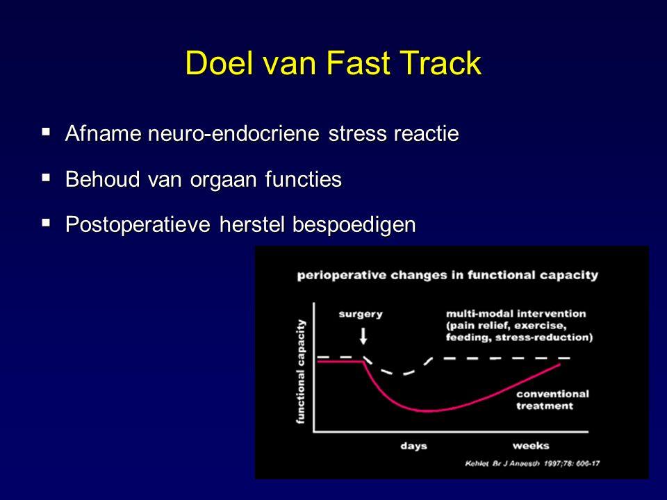 Doel van Fast Track Afname neuro-endocriene stress reactie