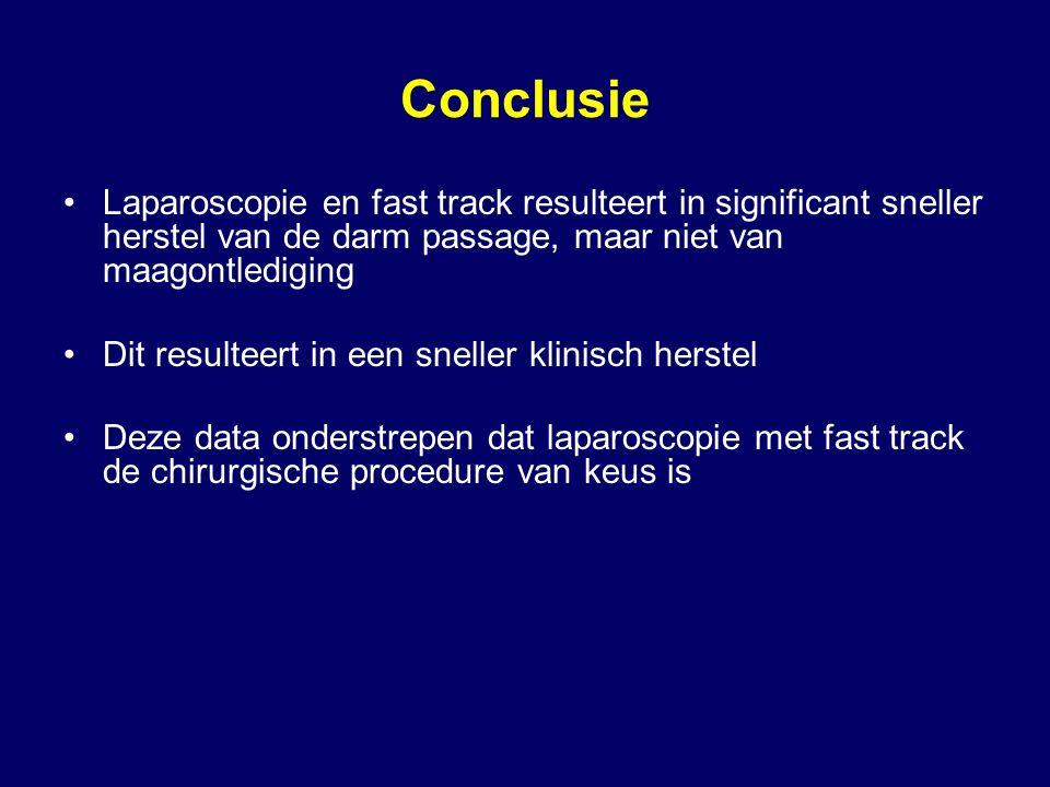 Conclusie Laparoscopie en fast track resulteert in significant sneller herstel van de darm passage, maar niet van maagontlediging.