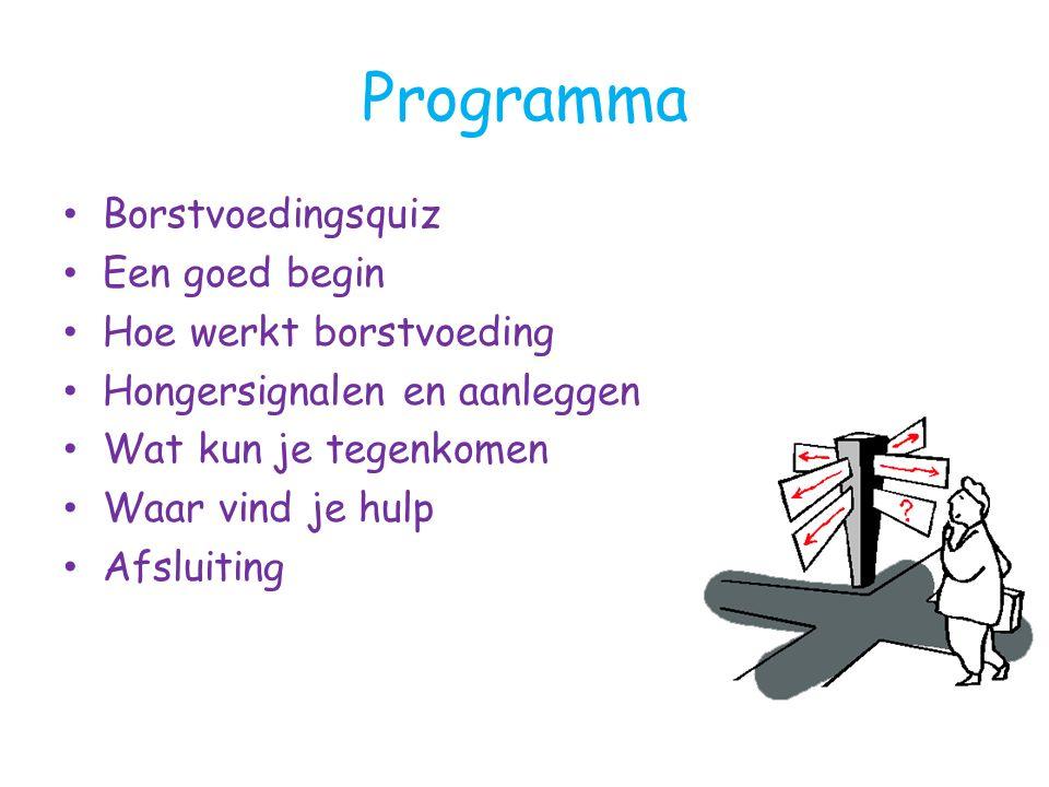 Programma Borstvoedingsquiz Een goed begin Hoe werkt borstvoeding