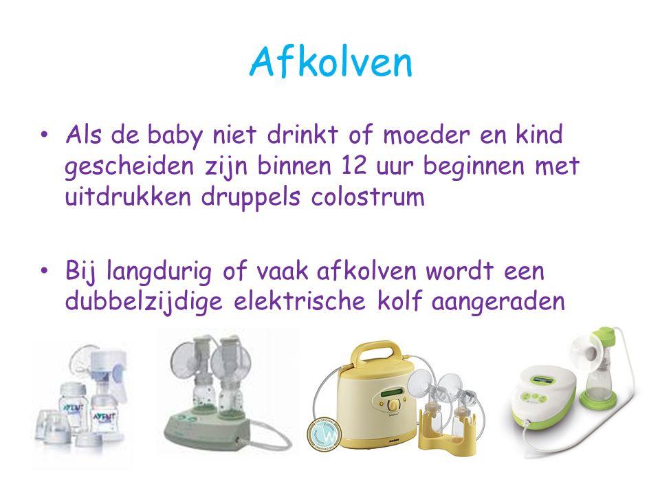 Afkolven Als de baby niet drinkt of moeder en kind gescheiden zijn binnen 12 uur beginnen met uitdrukken druppels colostrum.