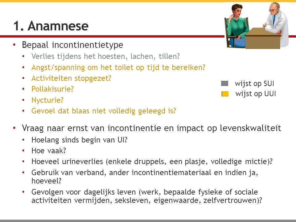 1. Anamnese Bepaal incontinentietype