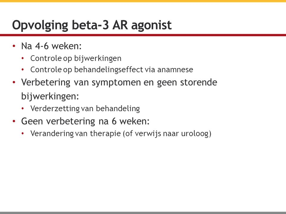 Opvolging beta-3 AR agonist