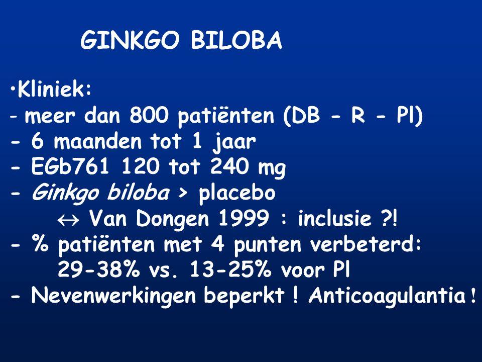 GINKGO BILOBA Kliniek: - meer dan 800 patiënten (DB - R - Pl)