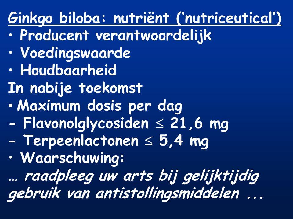 Ginkgo biloba: nutriënt ('nutriceutical')