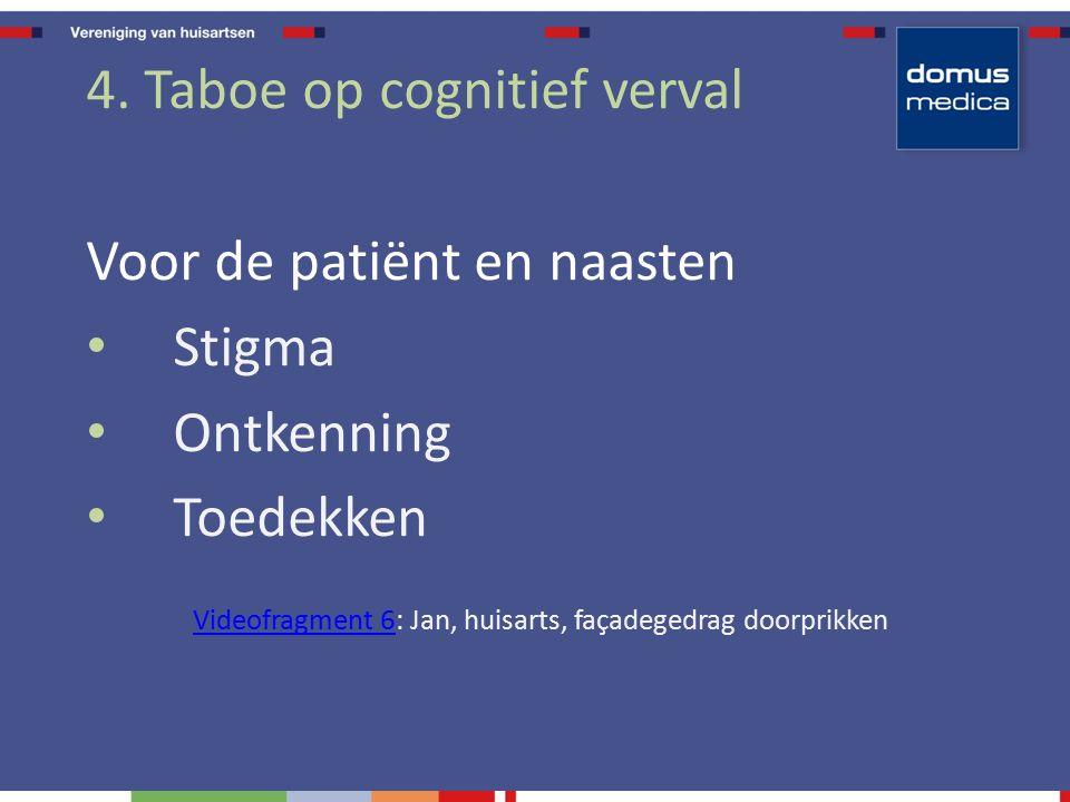 4. Taboe op cognitief verval Voor de patiënt en naasten Stigma