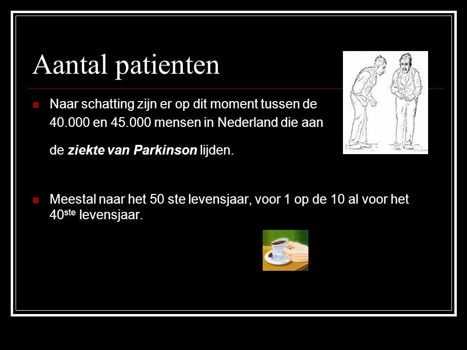 Aantal patienten Naar schatting zijn er op dit moment tussen de