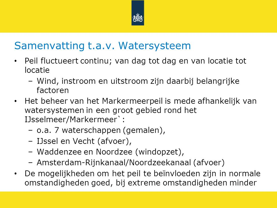 Samenvatting t.a.v. Watersysteem