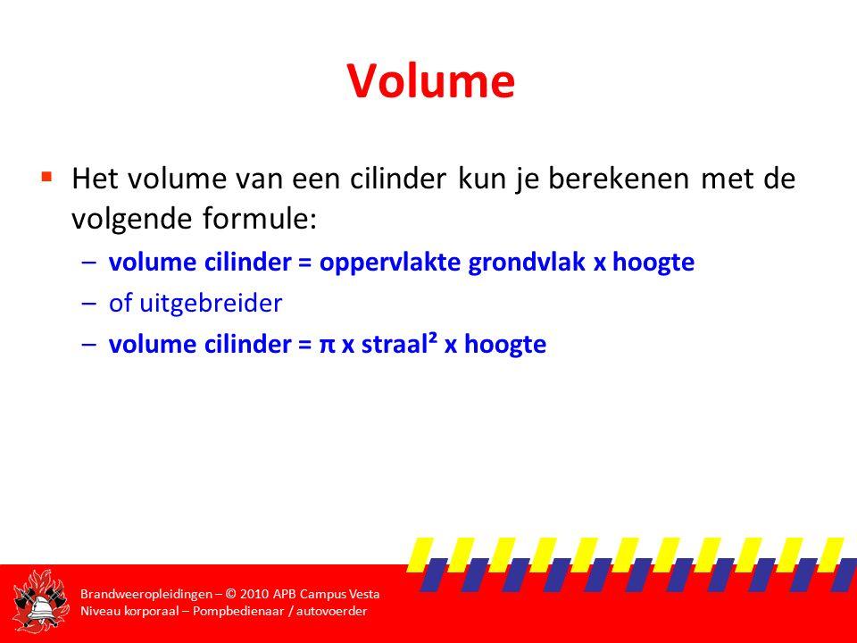 Volume Het volume van een cilinder kun je berekenen met de volgende formule: volume cilinder = oppervlakte grondvlak x hoogte.