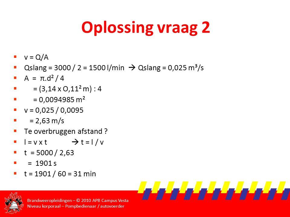 Oplossing vraag 2 v = Q/A. Qslang = 3000 / 2 = 1500 l/min  Qslang = 0,025 m³/s. A = π.d² / 4.