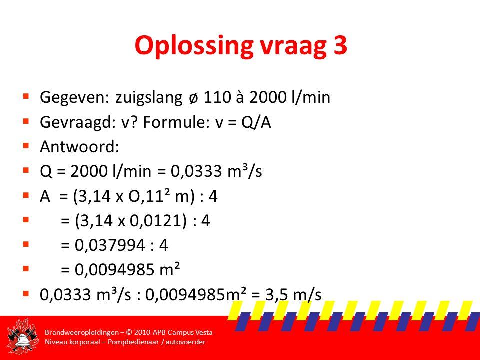 Oplossing vraag 3 Gegeven: zuigslang ø 110 à 2000 l/min