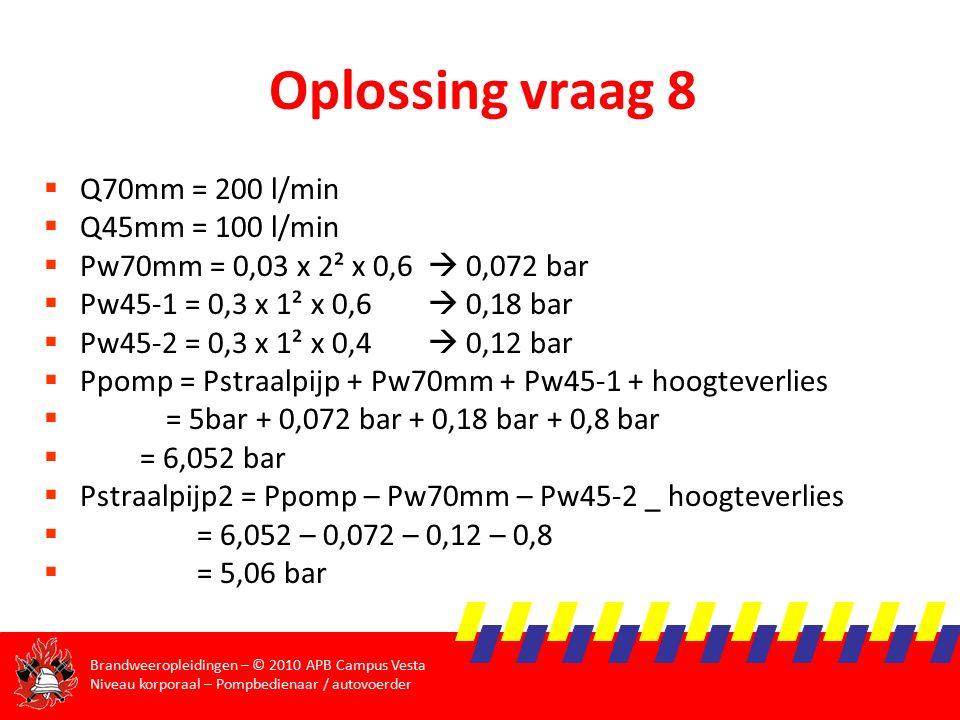 Oplossing vraag 8 Q70mm = 200 l/min Q45mm = 100 l/min