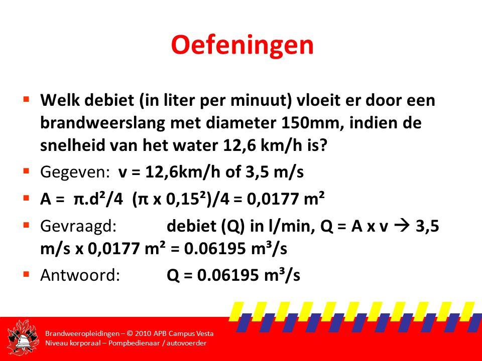 Oefeningen Welk debiet (in liter per minuut) vloeit er door een brandweerslang met diameter 150mm, indien de snelheid van het water 12,6 km/h is