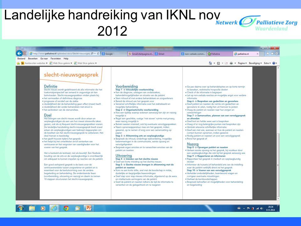Landelijke handreiking van IKNL nov 2012
