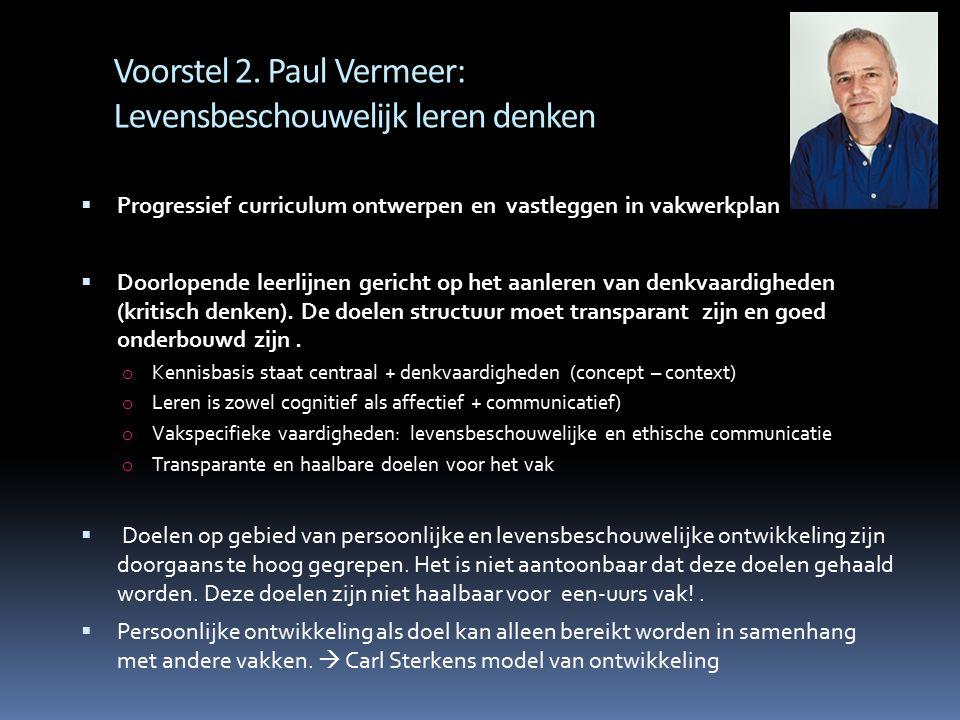 Voorstel 2. Paul Vermeer: Levensbeschouwelijk leren denken