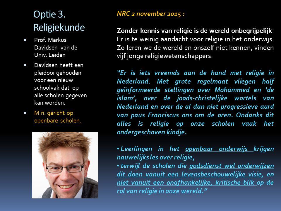 Optie 3. Religiekunde NRC 2 november 2015 :