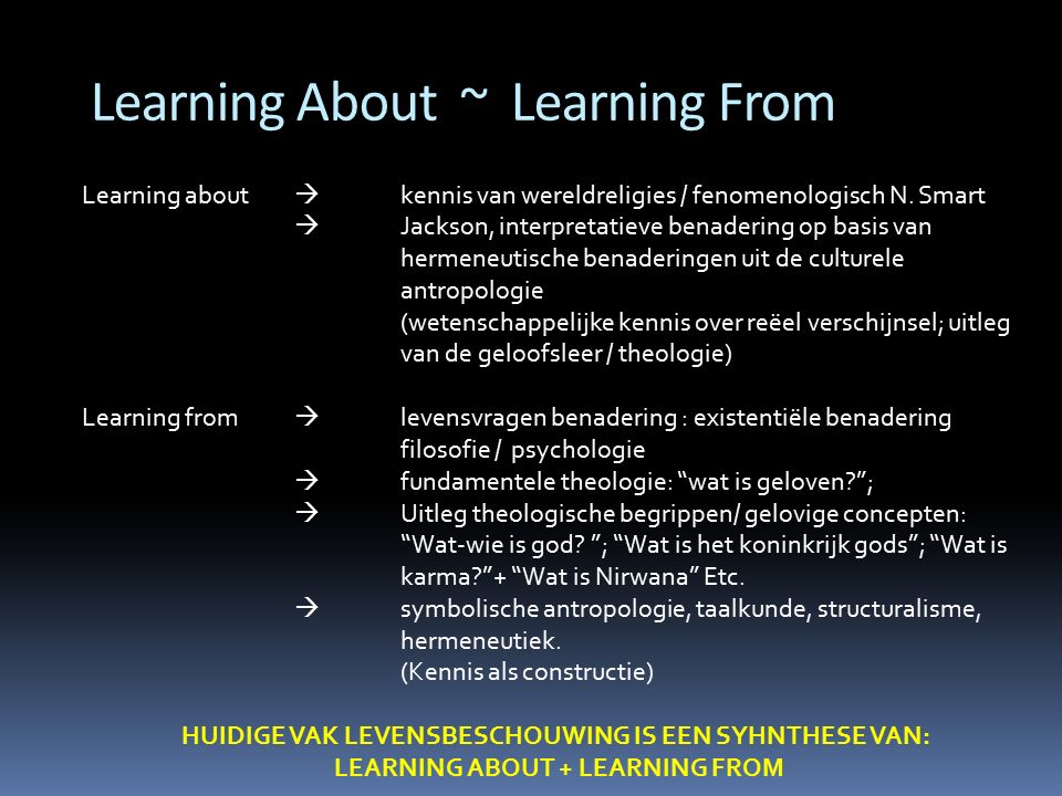 Learning About ~ Learning From