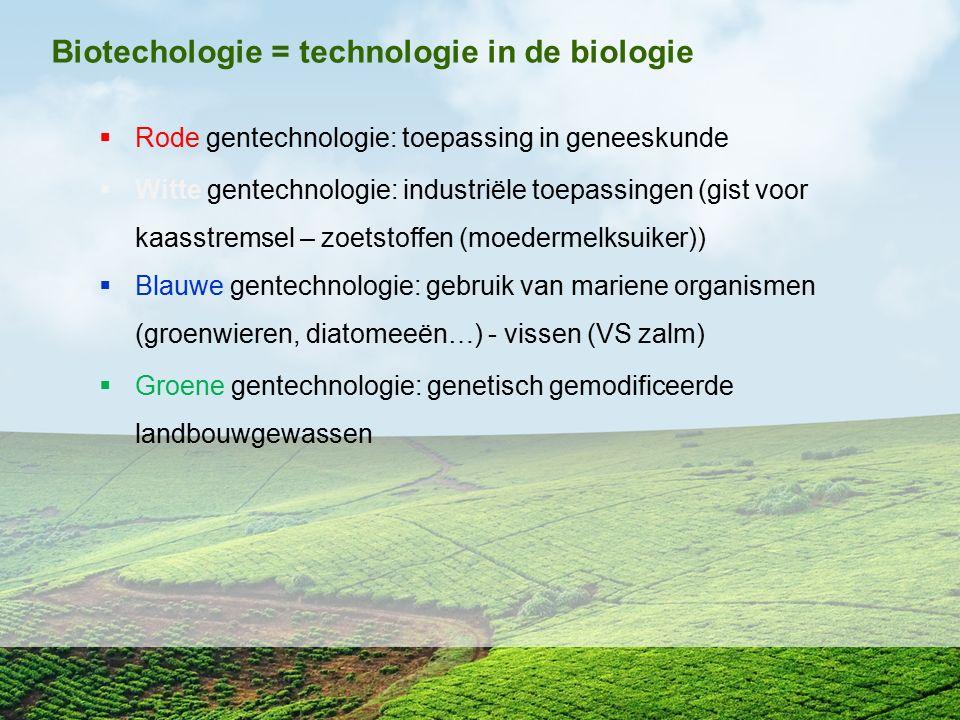 Biotechologie = technologie in de biologie