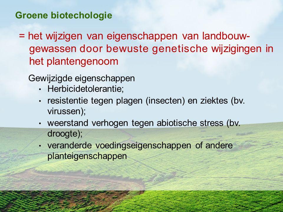 Groene biotechologie = het wijzigen van eigenschappen van landbouw- gewassen door bewuste genetische wijzigingen in het plantengenoom.