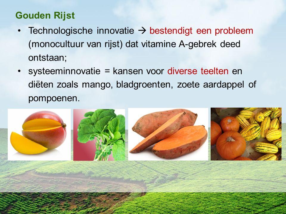 Gouden Rijst Technologische innovatie  bestendigt een probleem (monocultuur van rijst) dat vitamine A-gebrek deed ontstaan;
