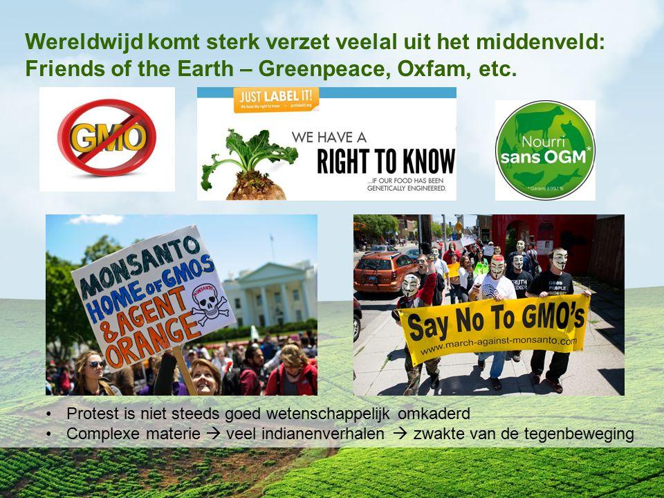 Wereldwijd komt sterk verzet veelal uit het middenveld: Friends of the Earth – Greenpeace, Oxfam, etc.